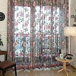 ZMG 1PCS Romantic Floral Tulle Voile Door Window Curtain Drape Panel Sheer Scarf Valances