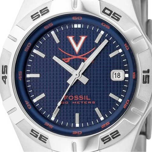 Fossil Virginia Cavaliers Men's Stainless Steel Analog 3 Hand Date Watch