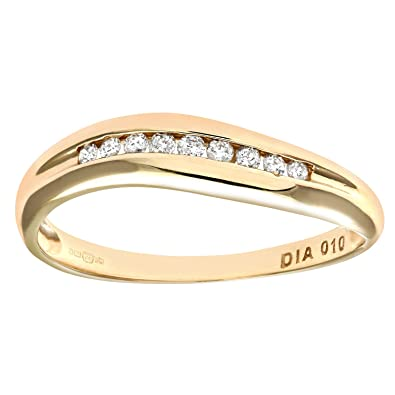 Naava 9ct Yellow Gold 0.10ct Diamond Channel Set Wave Eternity Ring