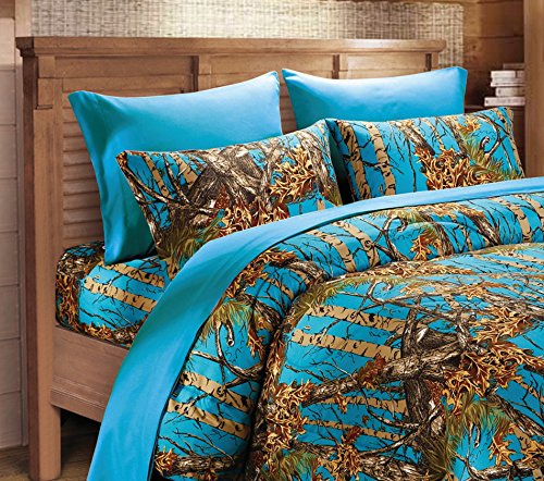 Microfiber 6 Piece Hunter Sea Breeze Blue Camo Rustic Bed Sheet Set & Pillowcases(Full, Sea Breeze) (Camouflage Sheets Full compare prices)