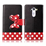 Fashion Youth Series Cute Design Black Red Bow Bowknot Polka Dot Wallet Flip Case Folio PU Leather Stand Cover with Card Slots for LG G3 LG-F400 D855 + Free Lovely Gift
