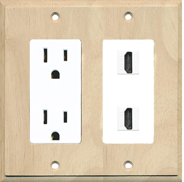 RiteAV - 15 Amp Power Outlet 2 Port HDMI Decora Wall Plate - Wood/White (Color: Wood/White)
