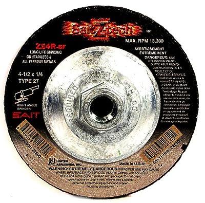 SAIT 22610 Type 27 4-1/2-Inch x 1/4-Inch x 5/8-11 13300 Max RPM Z-Tech - Z24R Zirconium Depressed Center Grinding Wheels, 10-Pack
