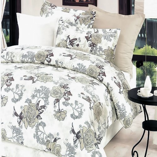 Blancho Bedding - [Ivory Rose] Luxury 5PC Bed In A Bag Combo 300GSM (Twin Size)