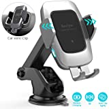 Heiyo Wireless Car Charger Mount, Qi 10W/7.5W Fast Charging Automatic Clamp Car Holder, Dashboard Air Vent Car Charger Holder Compatible for Samsung S10/S9/S9+/S8/Note 8, iPhone Xs Max/Xs/XR/X 8/8+ (Color: Platinum, Tamaño: Medium)