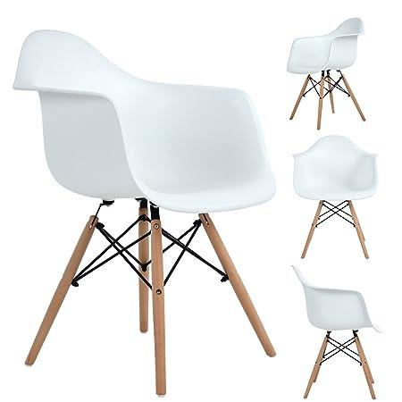 Pack de 4 comedor / Silla de oficina con las piernas de madera de haya maciza, Ajie Sillón para mayor comodida - blanco
