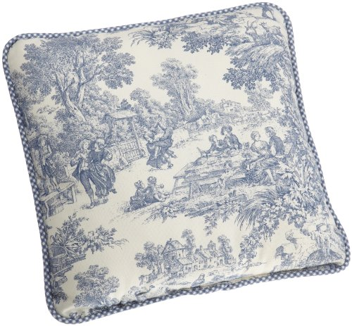 Victoria Park Toile Logan Gingham Check Reversible Toss Pillow, Blue