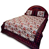 Little India Bagru Floral Designer Cotton Double Bedsheet with 2 Pillow Covers - White/Brown and Green