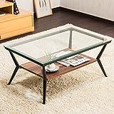 【魅せる空間テーブル】 お洒落なリビングガラステーブル ディスプレイテーブル アジャスター付き ダークブラウン 色