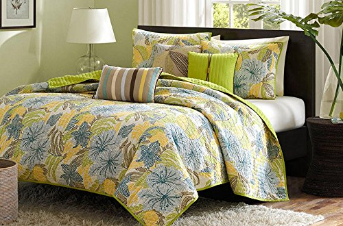 Tropical Palm Leaves Beach Themed Nautical Full / Queen Quilt, Shams & Toss Pillows (6 Piece Bed In A Bag)