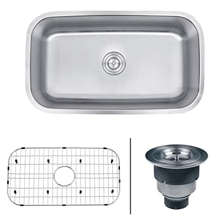 "Ruvati RVM4200 Undermount 16 Gauge 32"" Kitchen Sink Single Bowl, Stainless Steel"