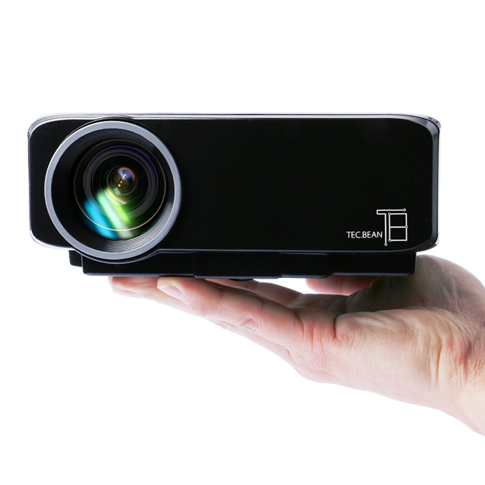 TEC.BEAN Portable Multimedia Mini LED Projector with USB VGA HDMI AV for Party,Home Entertainment,20000 Hours Led life with HDMI Cable