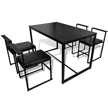 Anself 5 Teilig Essgruppe Tischgruppe Esstischgruppe aus 1 Esstisch 120x75+ 4 Stuhle 2 Farbe Optional