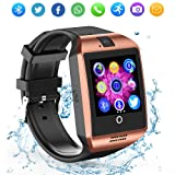 ZRSJ Bluetooth Smart Watch Q18 Touch Screen with Camera SIM/TF Card Slot Watches for Android iOS Samsung Motorola Men Women Kids (Gold)