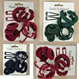 Hair Accessory - Girls Pretty Card of Plain Colour Cool 4 School Hair Set. Available in Dark Burgundy, Bottle Green and Navy Blue Colours.by Lady Isla Fashion