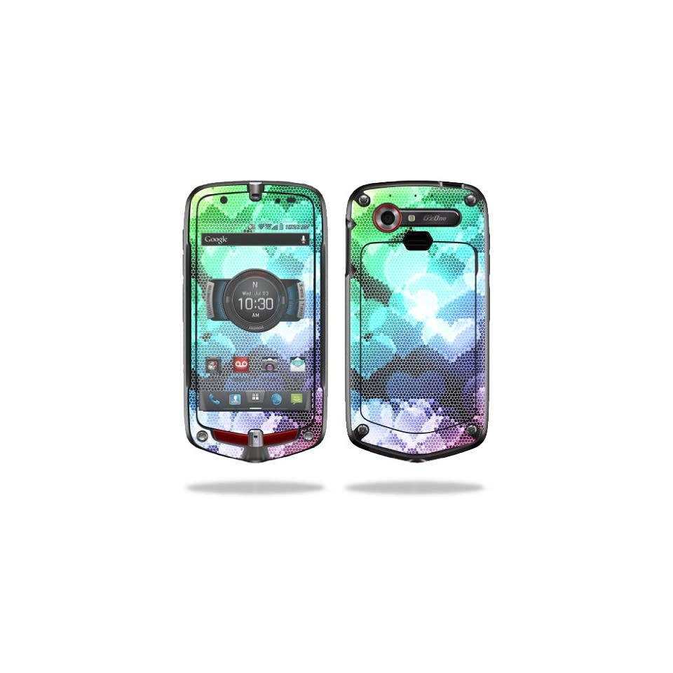 Mightyskins Protective Vinyl Skin Decal Cover for Casio GzOne Commando 4G LTE C811 GZ1 Verizon Cell Phone wrap sticker skins Colorful Hearts