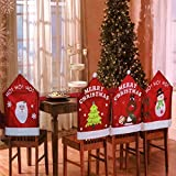 Set Of 4 Mixed Assorted Christmas Theme Chair Hat Back Covers Xmas Party Dinner Dining Table Festive Decoration Gift