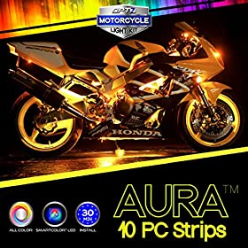 10pc Aura 3-into-1 Motorcycle LED Glow Light Strip Body Kit | Multi-Color Accent Neon w/Switch for Street-Sport