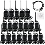 Retevis RT7 Walkie Talkies USB Rechargeable UHF 400-470MHz 3W 16CH Two Way Radio with Earpiece(20 Pack) and Programming Cable