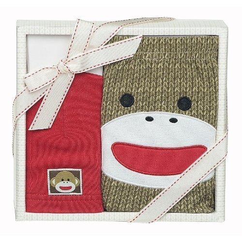 Baby Starters Sock Monkey Diaper Cover Gift Set - 1