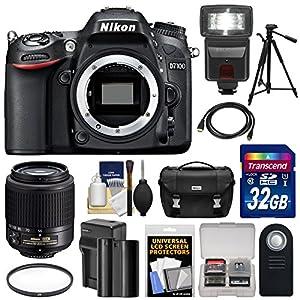 Nikon D7100 Digital SLR Camera Body with 55-200mm DX AF-S Lens + 32GB Card + Battery & Charger + Case + Tripod + Flash + Kit