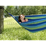 Brazilian Hammock - Double - Soft Cotton Weave for Supreme Comfort - Extra Wide Bed - Portable for Backpacking, Camping - Couples & Family Friendly 475 lb. Capacity (Blue & Green Stripes)