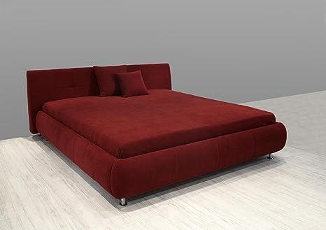 Dreams4Home Polsterbett Cutro, ohne Matratze Bettgestell, Bett, 140x200 160x200 o. 180x200 cm, rot, Liegefläche:180x200 cm