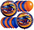 Nascar Full Throttle Party Balloon Package - Includes 2 Mylar 6 Blue & 6 Orange Latex