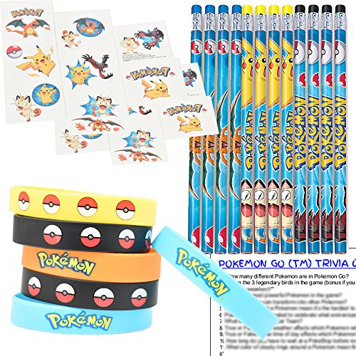 Pokemon Party Favors for 12 - Pokemon Kids Wristbands (12), Pokemon Pencils (12), Pokemon Tattoos (16 squares), and Pokemon Go Trivia Questions