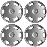 Hubcaps for Nissan Versa / Cube (Pack of 4) Wheel Covers - 15 Inch, 6 Spoke, Snap On, Silver