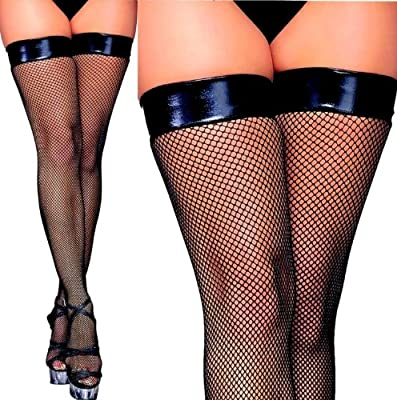 Elegante schwarze Halterlose Netzstrümpfe mit Lackabschluss Gothic SM Schwinger von bunny-shop