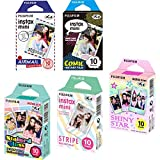 Fujifilm Instax Mini 5 Pack Bundle Includes Stained Glass, Comic, Stripe, Shiny Star, Airmail. 10 sheets X 5 Pack = 50 Sheets. Bonus Wiki Deal Micro Fiber Cloth