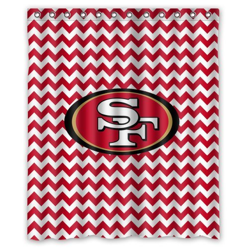 Custom NFL San Francisco 49ers Waterproof Polyester Shower Curtain 60x72