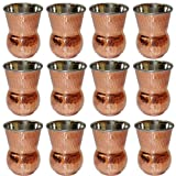 Indian Drinkware Accessory Mughlai Tumbler Copper And Stainless Steel Water Glass, Set Of 12, Height 11 Cm