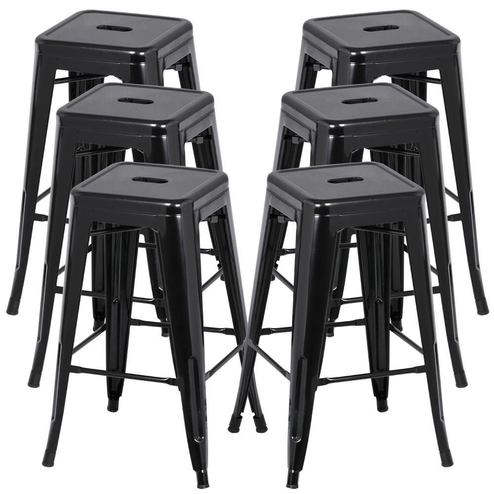 go2buy 6 PCs 26'' Metal Frame Bar Stools Vintage Counter Bar Stool Heavy Duty Black 0