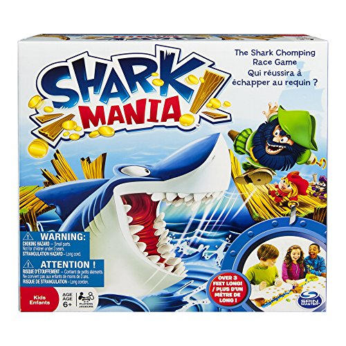 It's a shark-chomping race with no time to waste! In Shark Mania, your pirate ship has run aground on treacherous Shark Island and your gold booty is overboard. You've got to get yourself to the island safely while collecting as many gold coins as you can along the way. But don't get caught by that shark nipping at your heels. or you'll be out of the game! The  winner is the pirate who has collected the most gold coins AND makes it all the way to the safety of the island without getting chomped by the hungry shark. Bring home the frantic fun of Shark Mania, today!