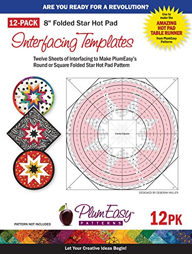 "Folded Star 8-Inch Hot Pad Interfacing Templates 12-Pack: 12 Custom-Printed 8.5"" X 11"" Interfacing Templates Made For Use With Plumeasy'S Round Or Square Folded Star Patterns front-87406"
