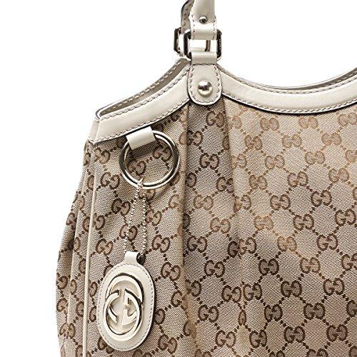 284feeefb40 Gucci 211944 Sukey Medium Beige Original GG Monogram Canvas Leather ...