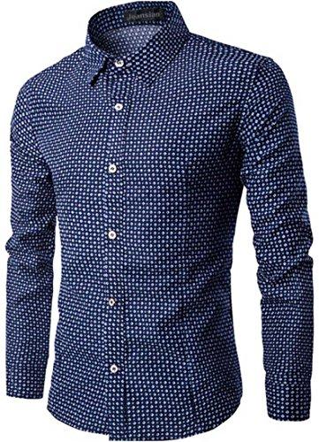 jeansian Uomo Moda Plaid Graph Check Camicia Top Men Slim Casual Shirts 84L6 Navy L