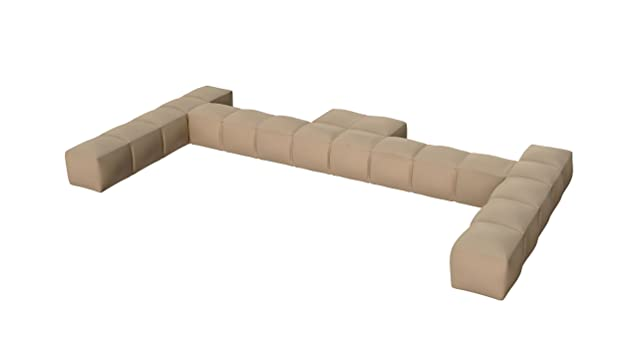 Pigro Felice 921989-SAND Modul'Air Luxury Inflatable Double Top Backrest Piscina Galleggianti, Sabbia