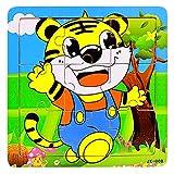 VANKER Animal de dibujos animados rompecabezas intelectuales Colores Niños de madera de juguete de regalo--tigre