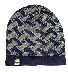 Pure Wool Self Design Winter Woollen Cap Blue Grey