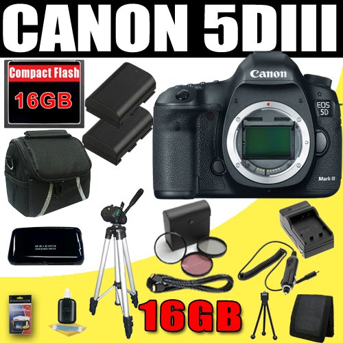 Canon EOS 5D Mark III 22.3 MP Full Frame CMOS with 1080p Full-HD Video Mode Digital SLR Camera (Body) + TWO LPE6 Replacement Batteries + 77mm 3 Piece Filter Kit + 16GB HDMI Deluxe Accessory Kit