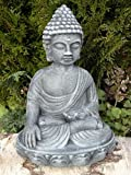 Garden ornamental Figure - Buddha, Cast stone, Slate gray