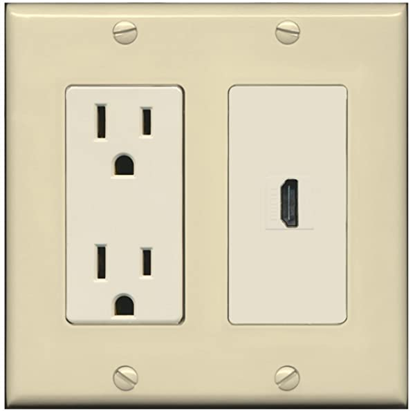 RiteAV - 15 Amp Power Outlet and 1 Port HDMI Decora Type Wall Plate - Ivory/Light Almond (Color: Ivory/Light Almond)