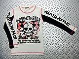パンク☆ロック系 子供服 SHISKY/シスキー:ラメ入りフラッグチェックハート&スカル長袖Tシャツ 白(ホワイト)