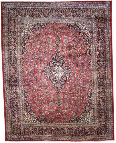 9'10 x 12'7 Handmade Knotted Persian Mashad Semi-antique Area Rug From Iran/Persia - 48554