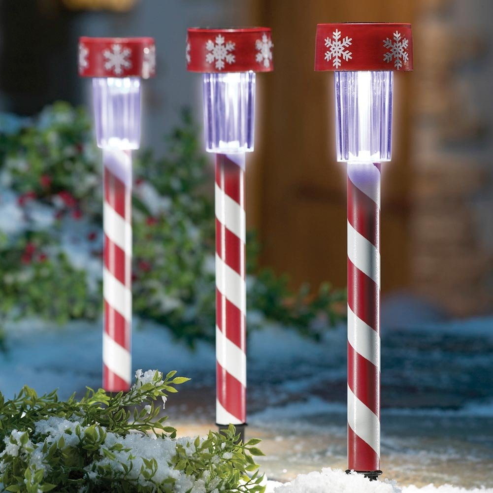 candy cane christmas solar light decorations by collections etc set of 3 outdoor candy cane solar lights - Christmas Solar Pathway Lights