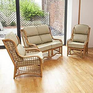 Home & Garden Direct Bali Honey Conservatory Suite 2 Seater Sofa 2 Chairs Choice of Colours from Home & Garden Direct