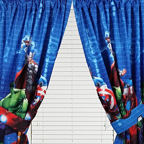 Marvel Avengers Assemble Window Panels Curtains Drapes, Set of 2, 42